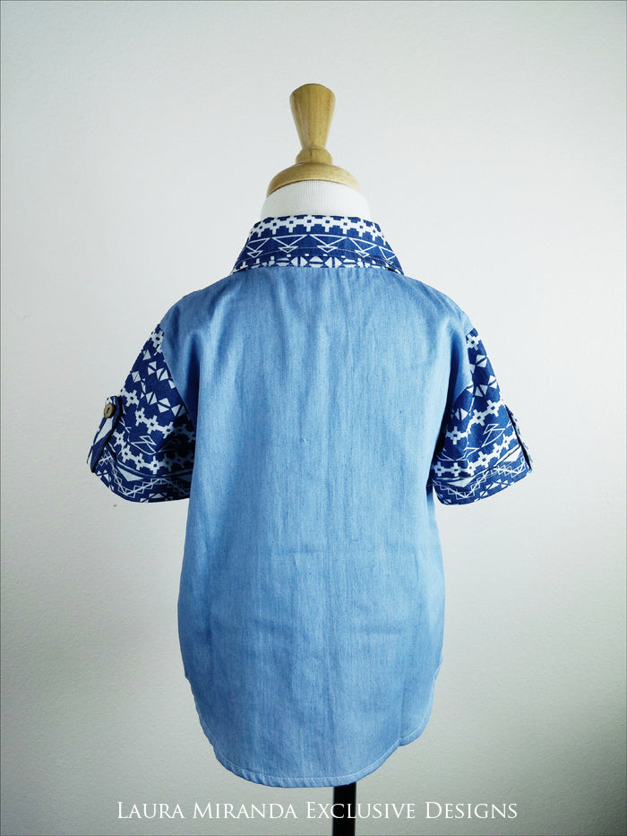 Boys Tribal Denim Shirt
