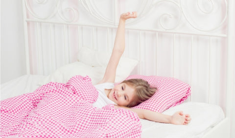 Young girl waking up dry - no more bed wetting