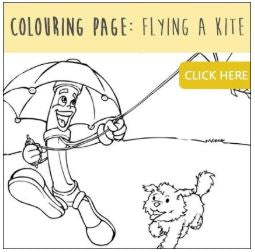 colouring - fly a kite