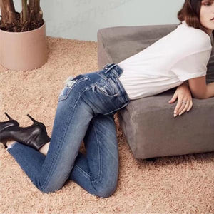 Fashion High Waist Hole Brushed Feet Jeans