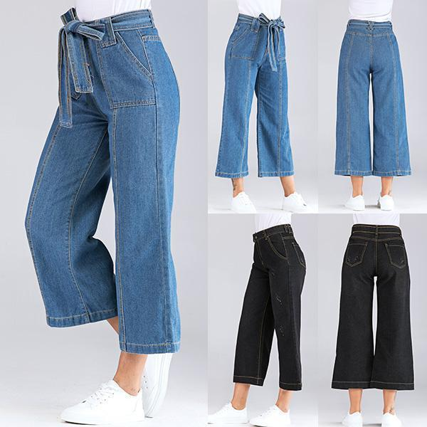 Casual Wide Leg Loose Denim Belt Pants
