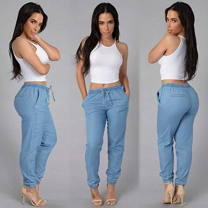 High Waist Elastic Jeans Casual Denim Pants