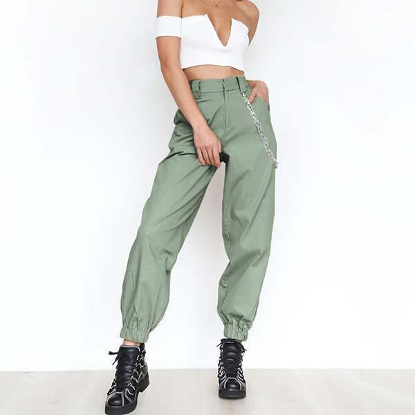High Waist Cuffed Harem Pant With Chain