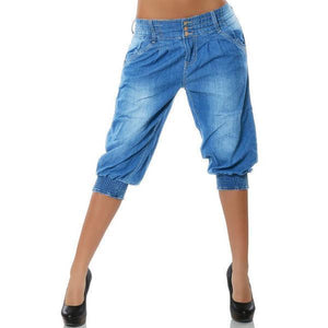 Washed Denim Elastic Waist Capri Pants