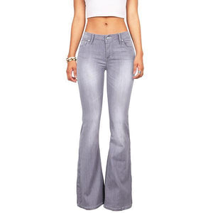 70s Stretchy Denim Mid Rise Bell Bottoms