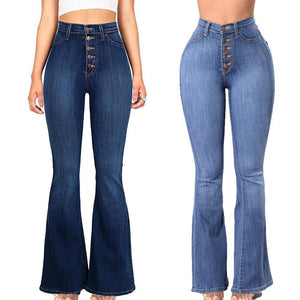 70s Elastic Denim Button High Waist Bell Bottoms