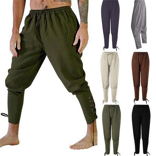 Ankle Cuff Pants Medieval Pirate Mens Renaissance Costume