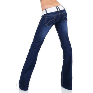 Stretch Denim Hip Hugger Bell-Bottom Flare Jeans