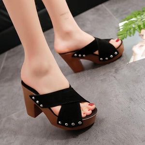 Platform Rivet Sandals Roman Slippers
