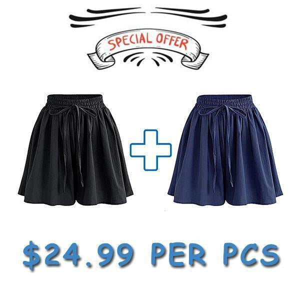 70s Culottes Casual Loose Skorts With Side Pockets