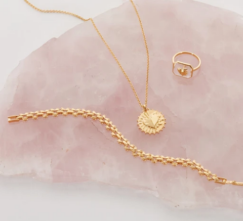 beautiful gold necklace bracelet and ring