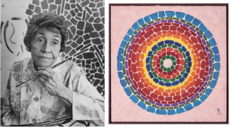 Artist Alma Thomas and one of her colorful pieces
