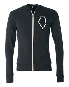 State Light Weight Zip Up Left Chest Hoodie