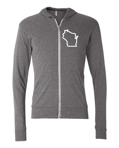 Wisconsin Light Weight Zip Up Left Chest Hoodie