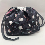 Knitting Cats Drawstring Project Bag