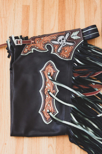 SOLD... One Of a Kind - Black and Metallic Olive Bullriding/Bareback Chaps