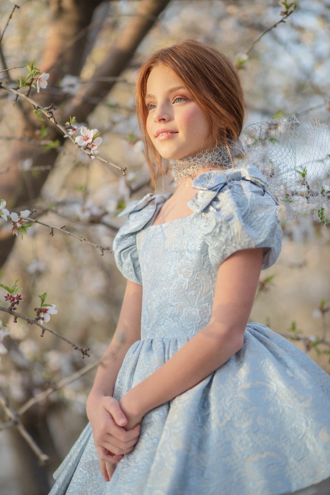 Doll dress in blue - Flowers and Ruffles