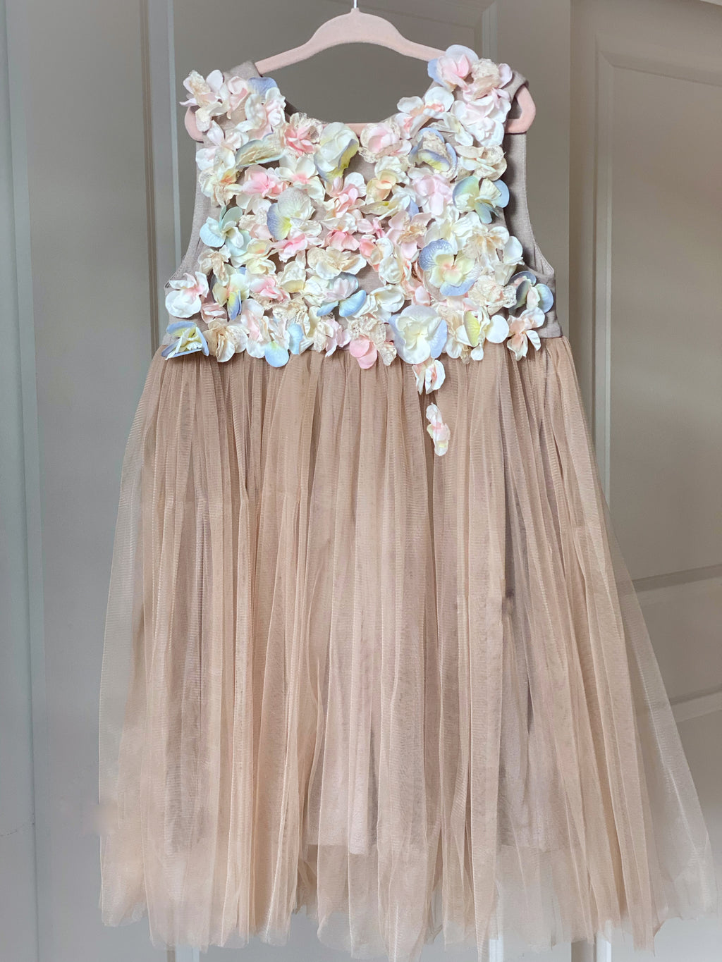 Beige Tulle Dress with Floral Appliques - Flowers and Ruffles