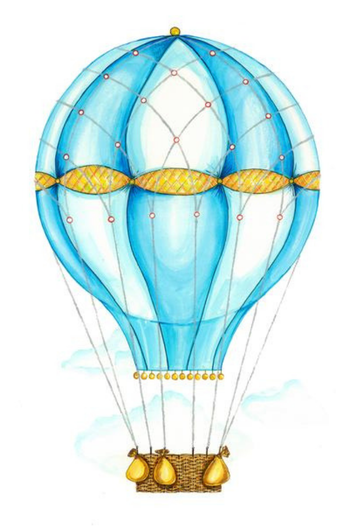 Blue Hot Air Balloon Wall Decals by Cling™