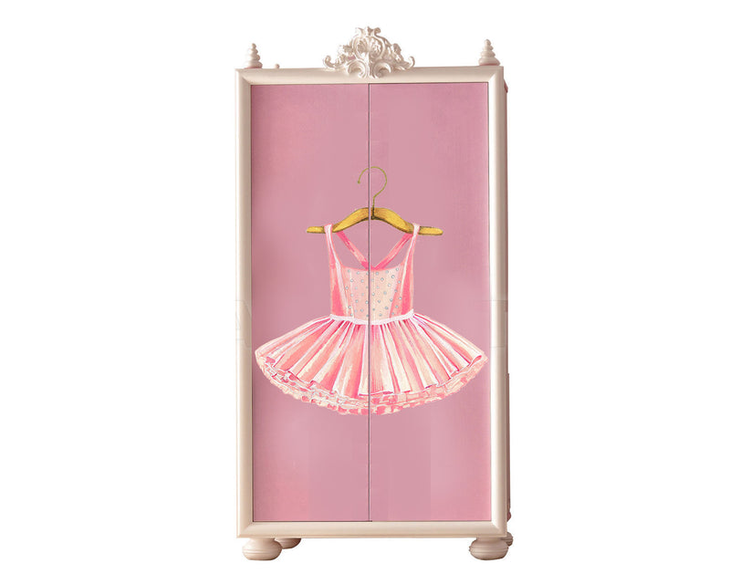 Pink Ballerina Dress Wall Decal by Cling™ - Flowers and Ruffles