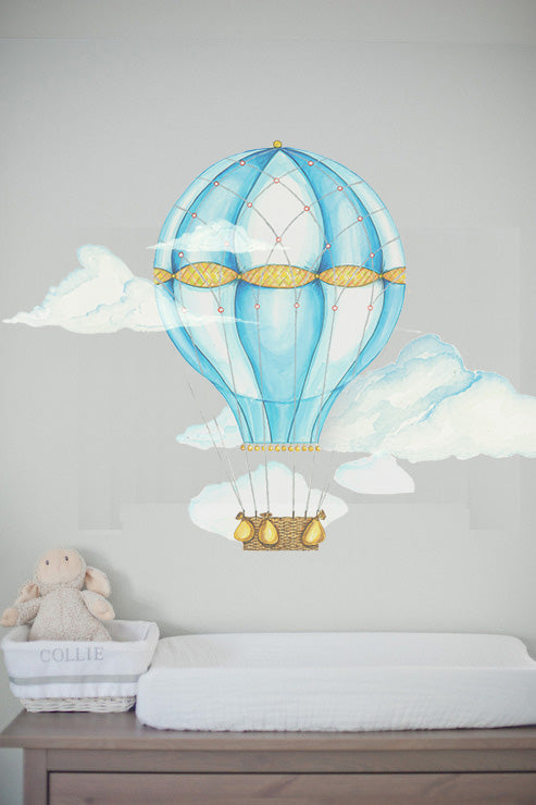 Blue Hot Air Balloon Wall Decals by Cling™ - Flowers and Ruffles