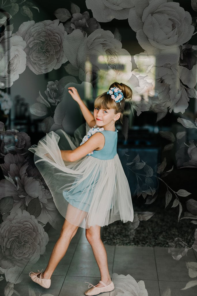 Blue Tulle Dress with Floral Appliques for Girls by Flowers and Ruffles