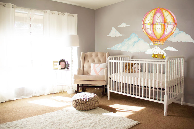 Pink Hot Air Balloon Wall Decals by Cling™ - Flowers and Ruffles