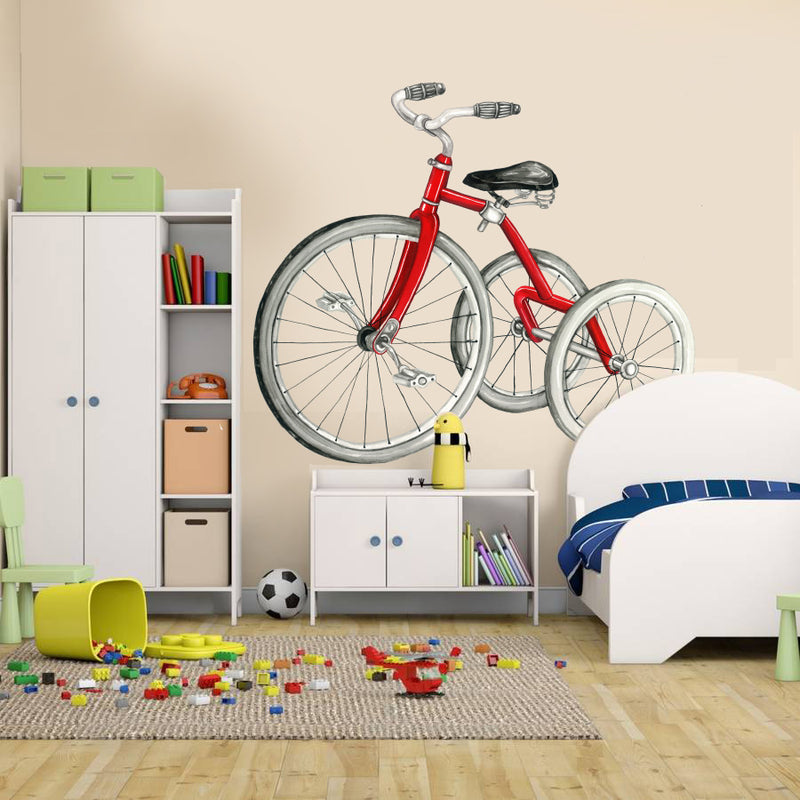 Red Vintage Bicycle Wall Decal for baby boy room