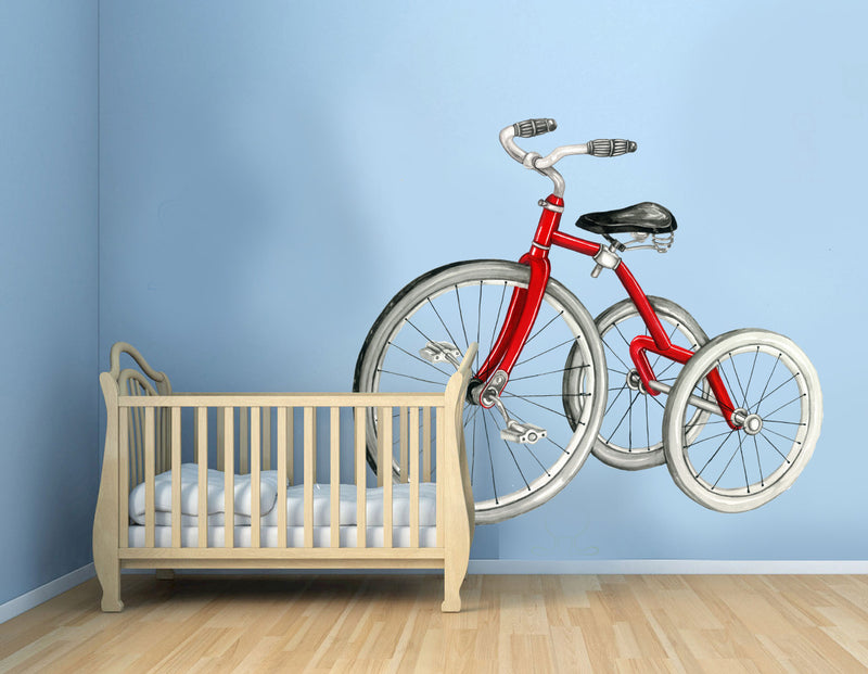 Red Vintage Bicycle Wall Decal for toddler room