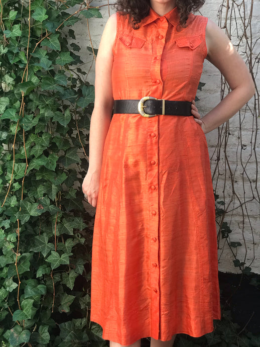 Robe en soie sauvage orange