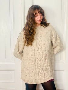 Pull long beige chiné