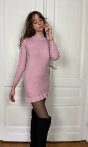 Pull long/robe courte à perles