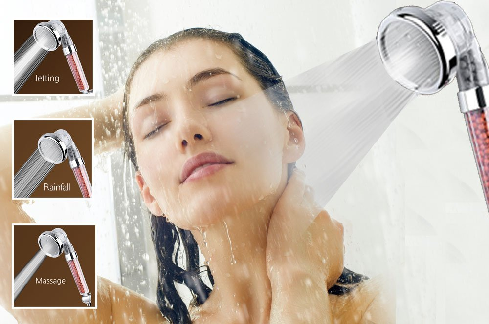 Polycarbonate Shower Head with 3-Stage Filter System For Fixing Dry Skin, Hairloss & Fatigue