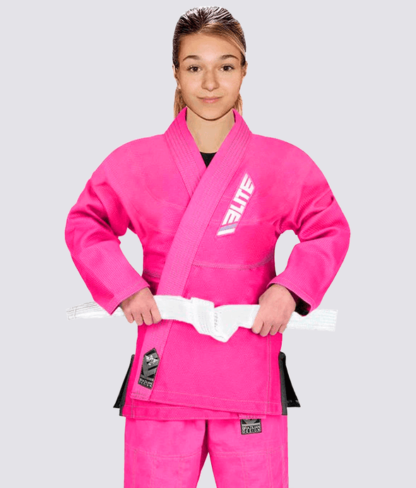 Elite Sports Ultra Light Preshrunk Pink Kids Brazilian Jiu Jitsu BJJ Gi With Free White Belt