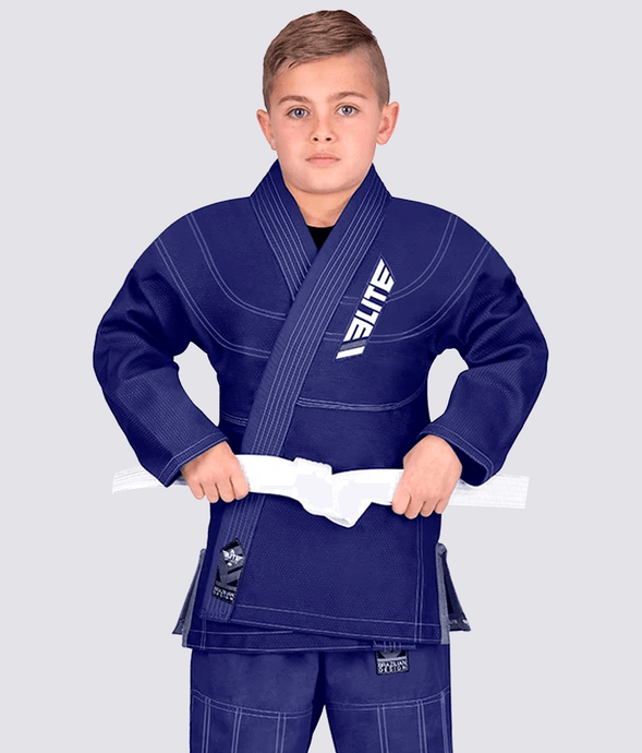 Elite Sports Ultra Light Preshrunk Navy Kids Brazilian Jiu Jitsu BJJ Gi With Free White Belt