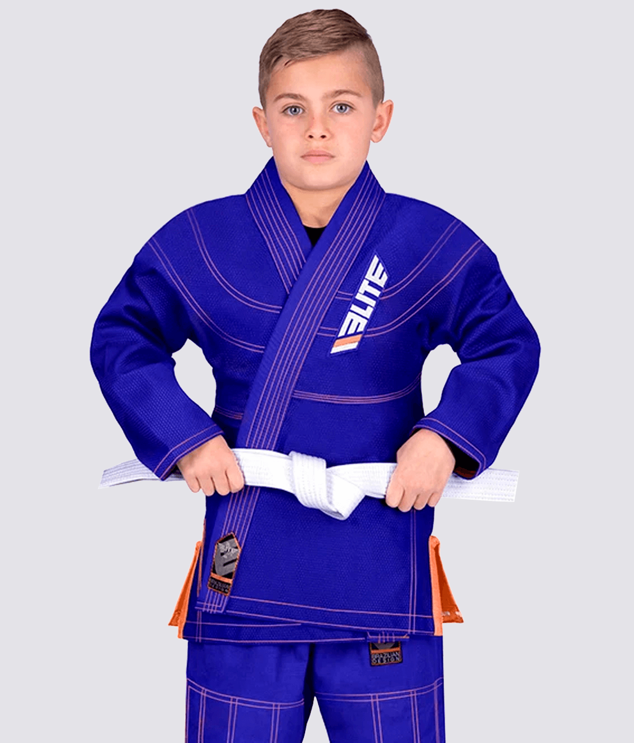 Elite Sports Ultra Light Preshrunk Antibacterial Blue Kids Brazilian Jiu Jitsu BJJ Gi With Free White Belt