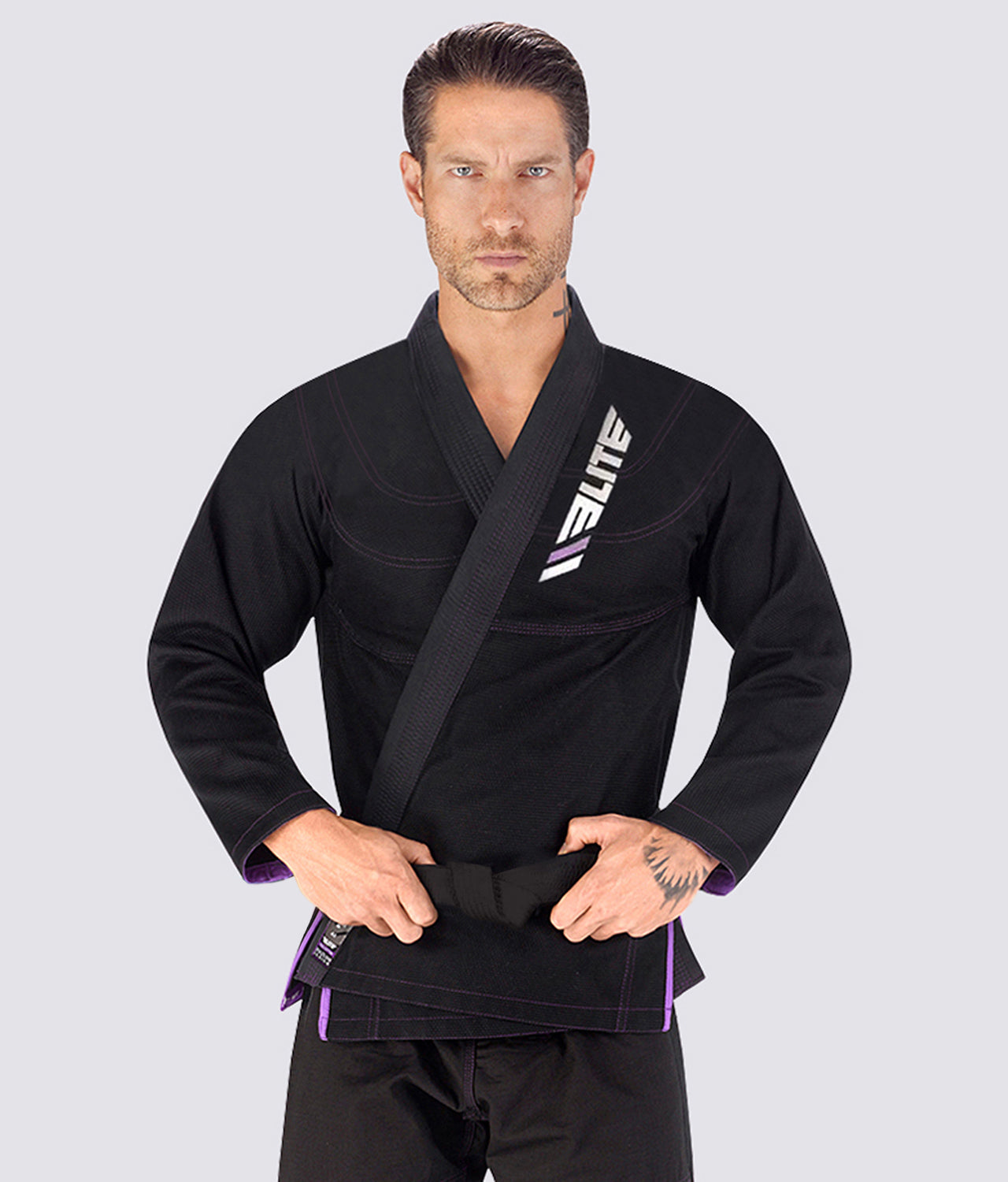 Elite Sports Ultra Light Preshrunk Comfortable Black Adult Brazilian Jiu Jitsu BJJ Gi  With Free White Belt