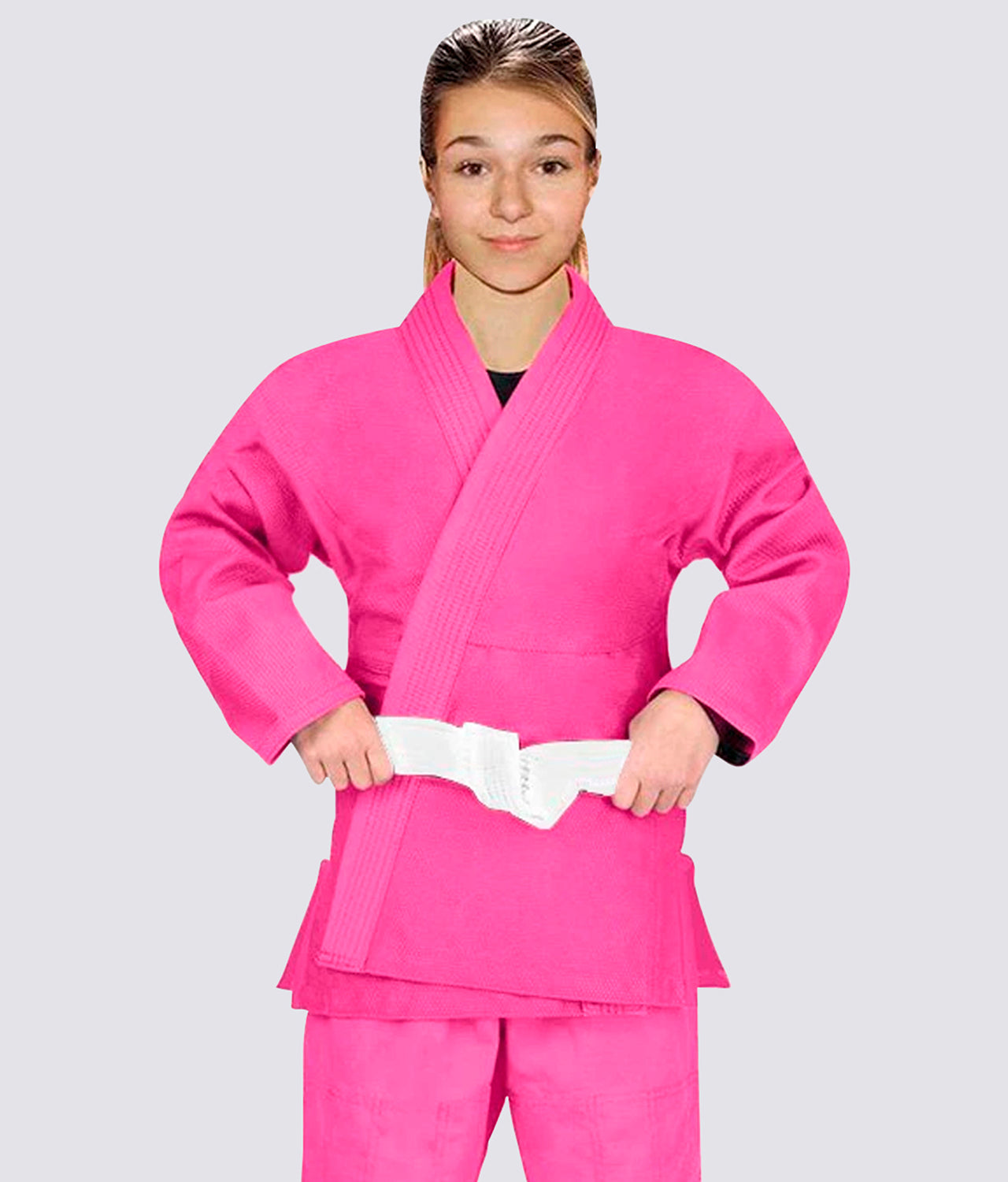 Elite Sports Essential Lightweight Preshrunk High-Quality Cotton Pink Kids Brazilian Jiu Jitsu BJJ Gi With Free White Belt