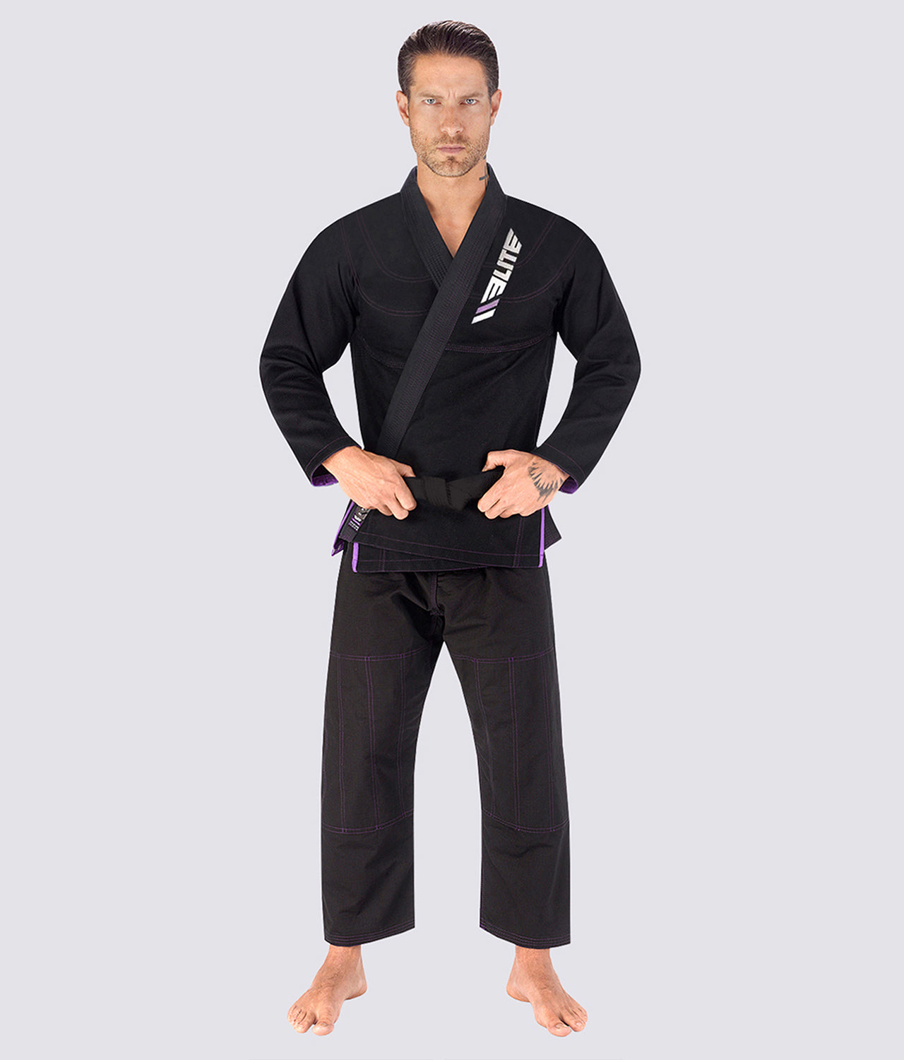 Elite Sports Ultra Light Preshrunk Reinforced Stitching Black Adult Brazilian Jiu Jitsu BJJ Gi  With Free White Belt