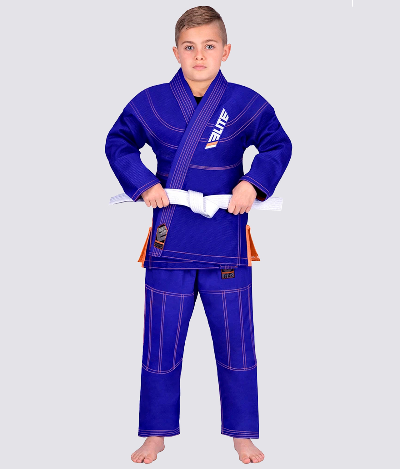 Elite Sports Ultra Light Preshrunk Sweat-Wicking Blue Kids Brazilian Jiu Jitsu BJJ Gi With Free White Belt