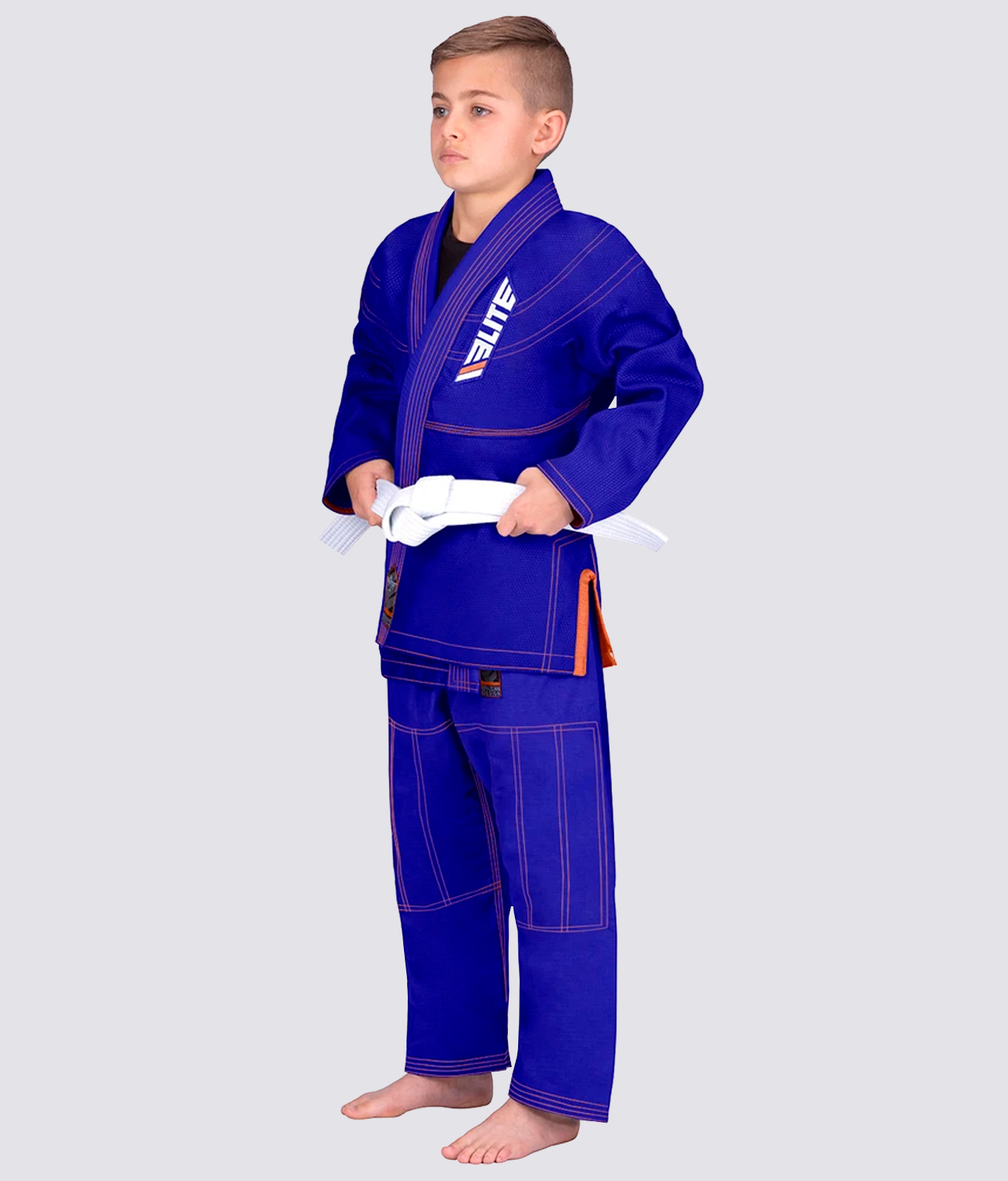 Elite Sports Ultra Light Preshrunk Anti-Odor Blue Kids Brazilian Jiu Jitsu BJJ Gi With Free White Belt
