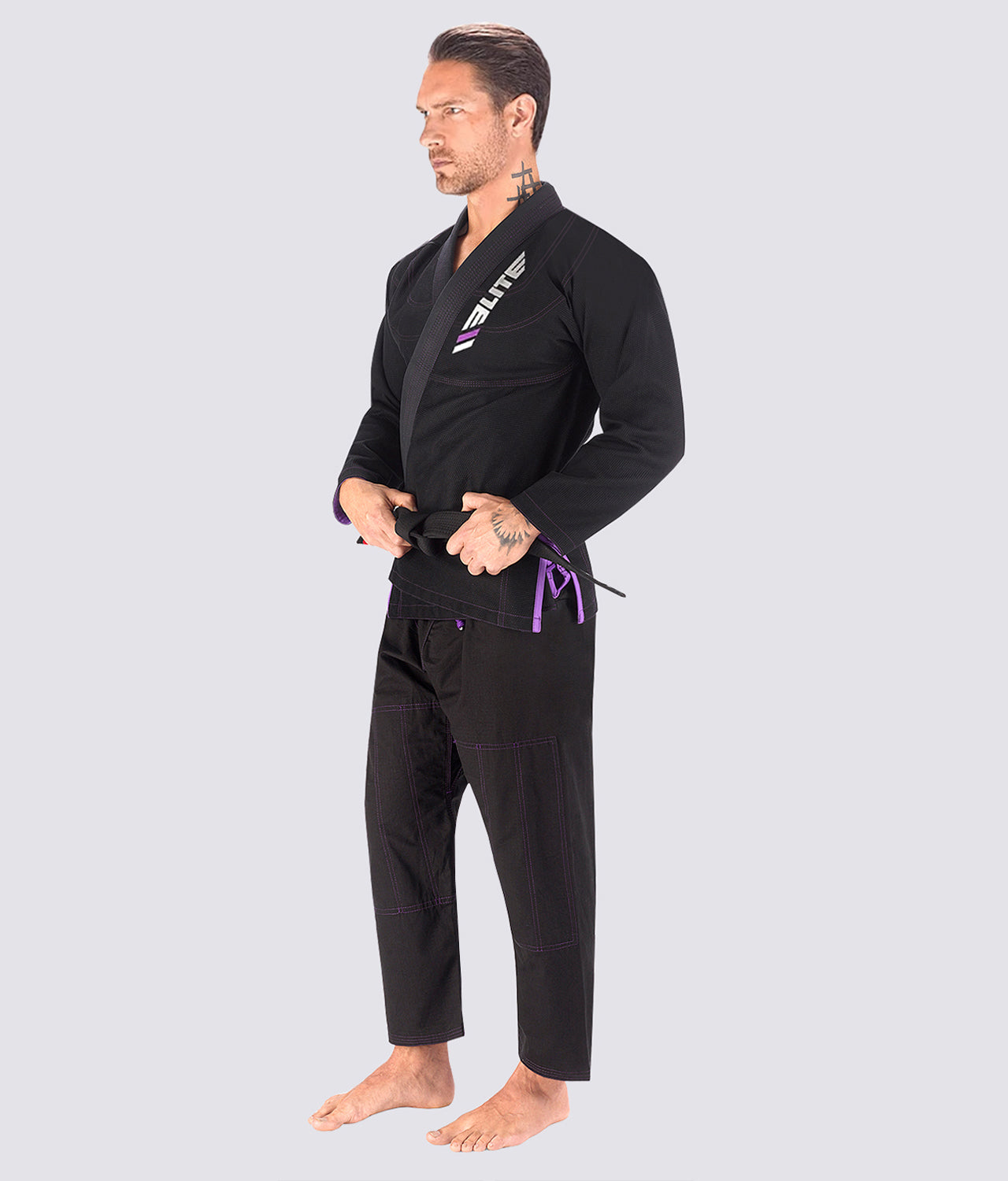 Elite Sports Ultra Light Preshrunk Anti-Odor Black Adult Brazilian Jiu Jitsu BJJ Gi  With Free White Belt