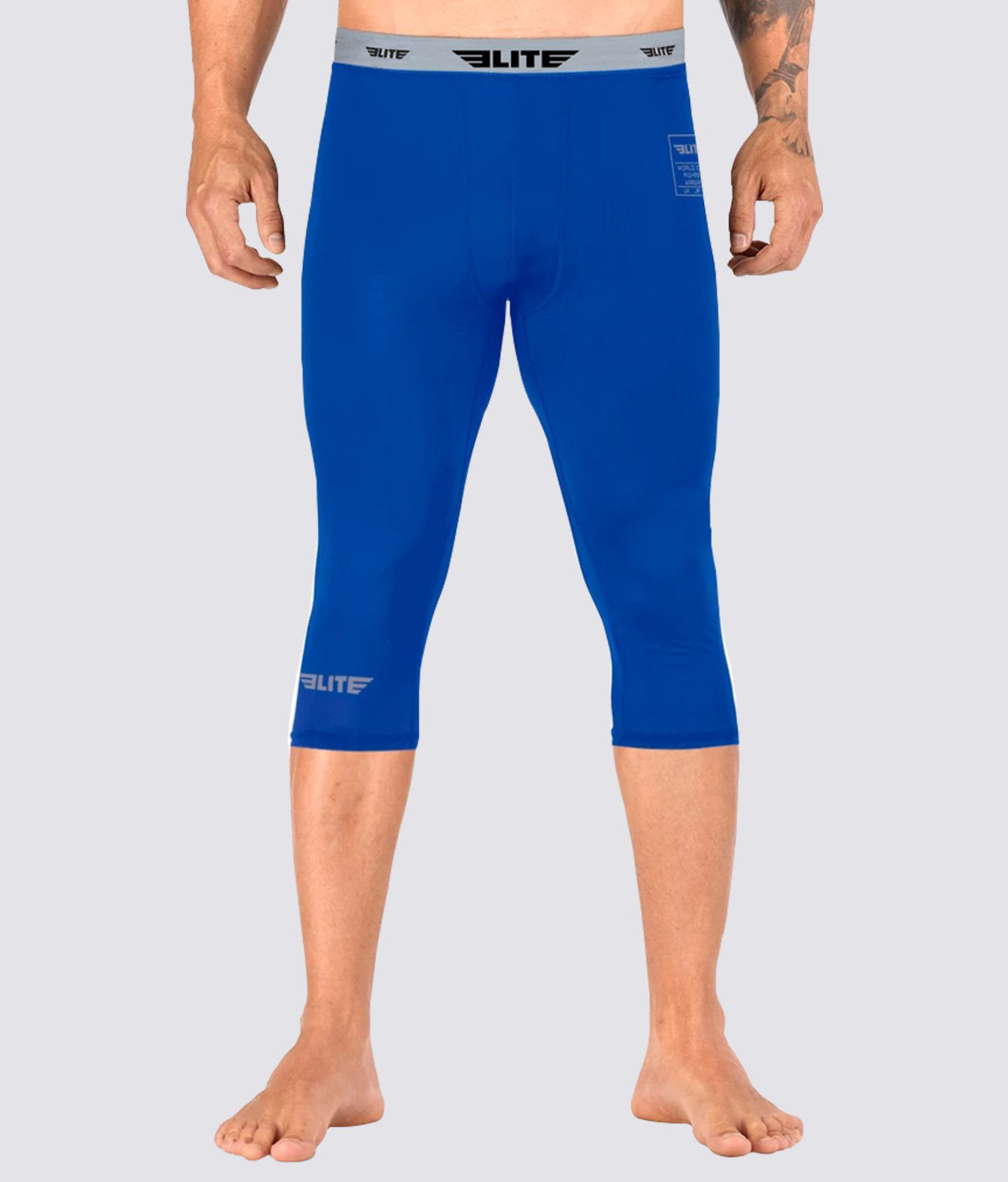 Elite Sports Three Quarter Blue Compression Muay Thai Spat Pants