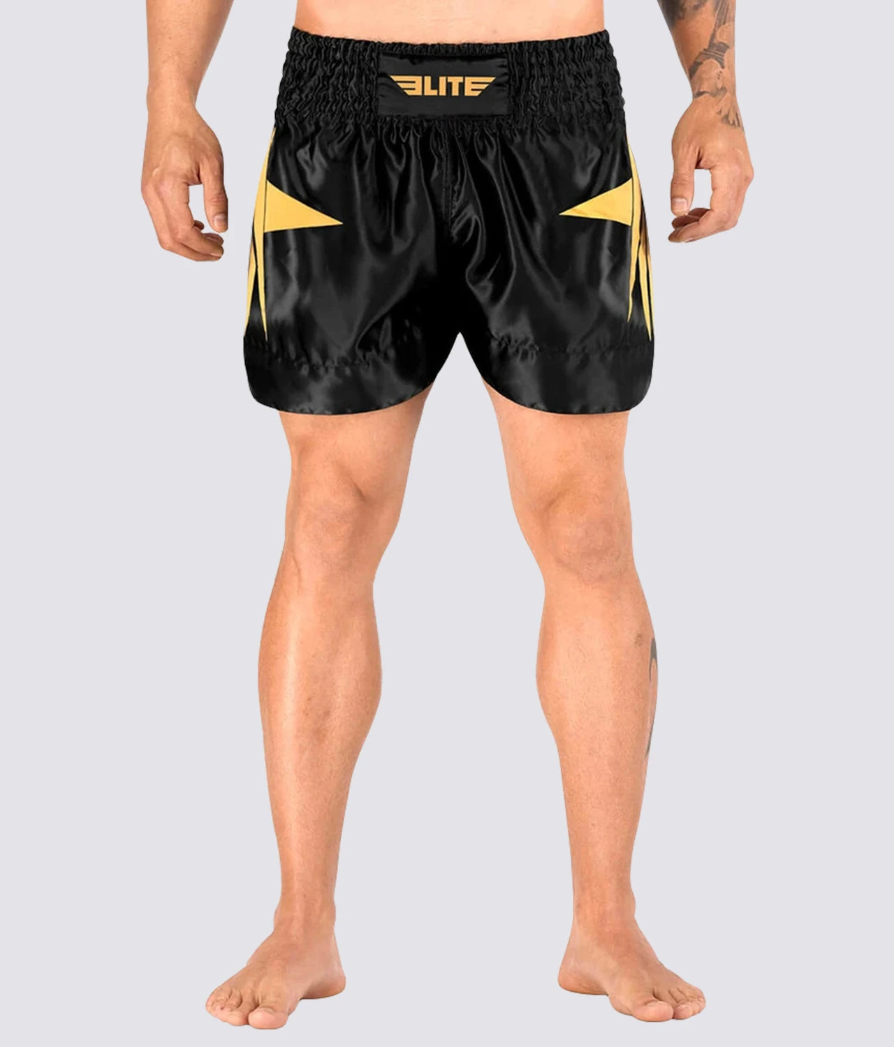 Elite Sports Star Series Sublimation Black/Gold Muay Thai Shorts