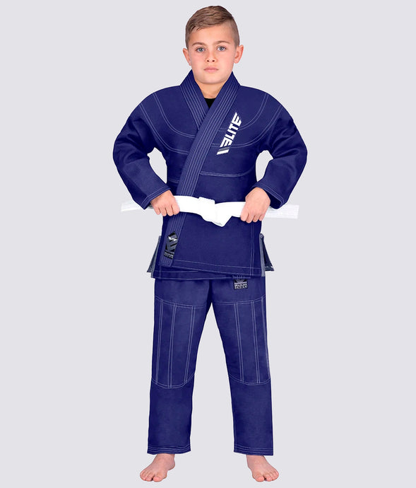 Elite Sports Ultra Light Preshrunk Comfortable Navy Adult Brazilian Jiu Jitsu BJJ Gi  With Free White Belt