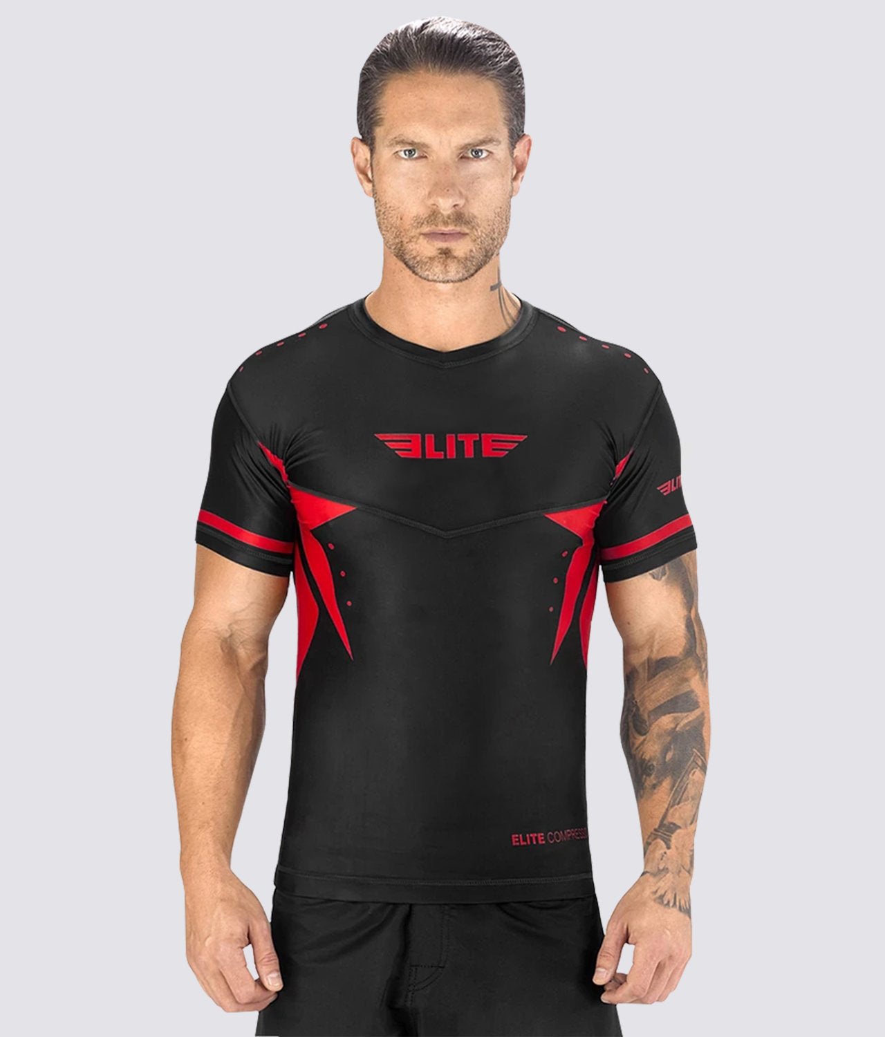 Elite Sports Star Series Sublimation Black/Red Short Sleeve Training Rash Guard