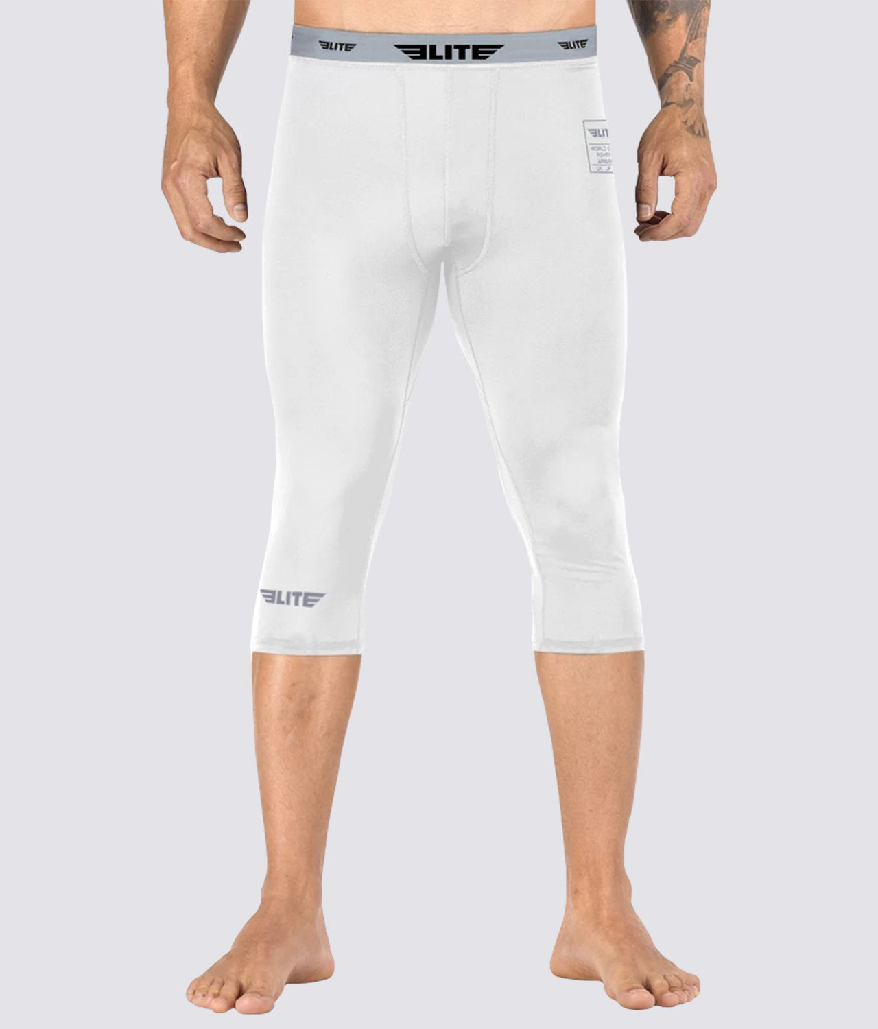 Elite Sports Three Quarter White Compression Muay Thai Spat Pants