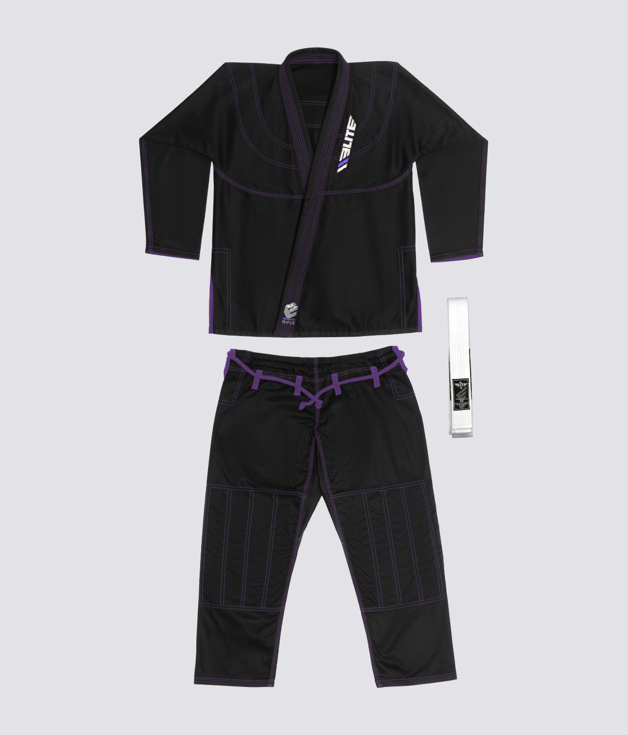 Elite Sports Ultra Light Preshrunk Sweat Wicking Black Adult Brazilian Jiu Jitsu BJJ Gi  With Free White Belt