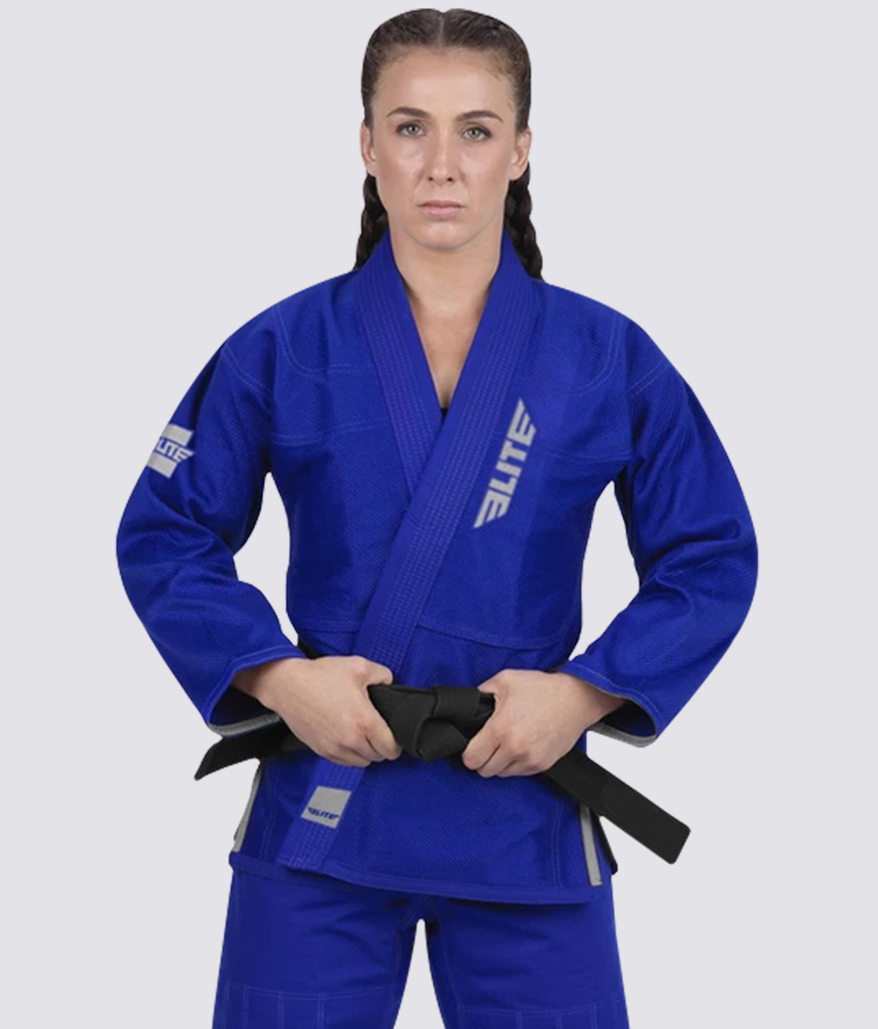 Elite Sports Lightweight Preshrunk Antibacterial Blue Women Brazilian Jiu Jitsu BJJ Gi With Free White Belt