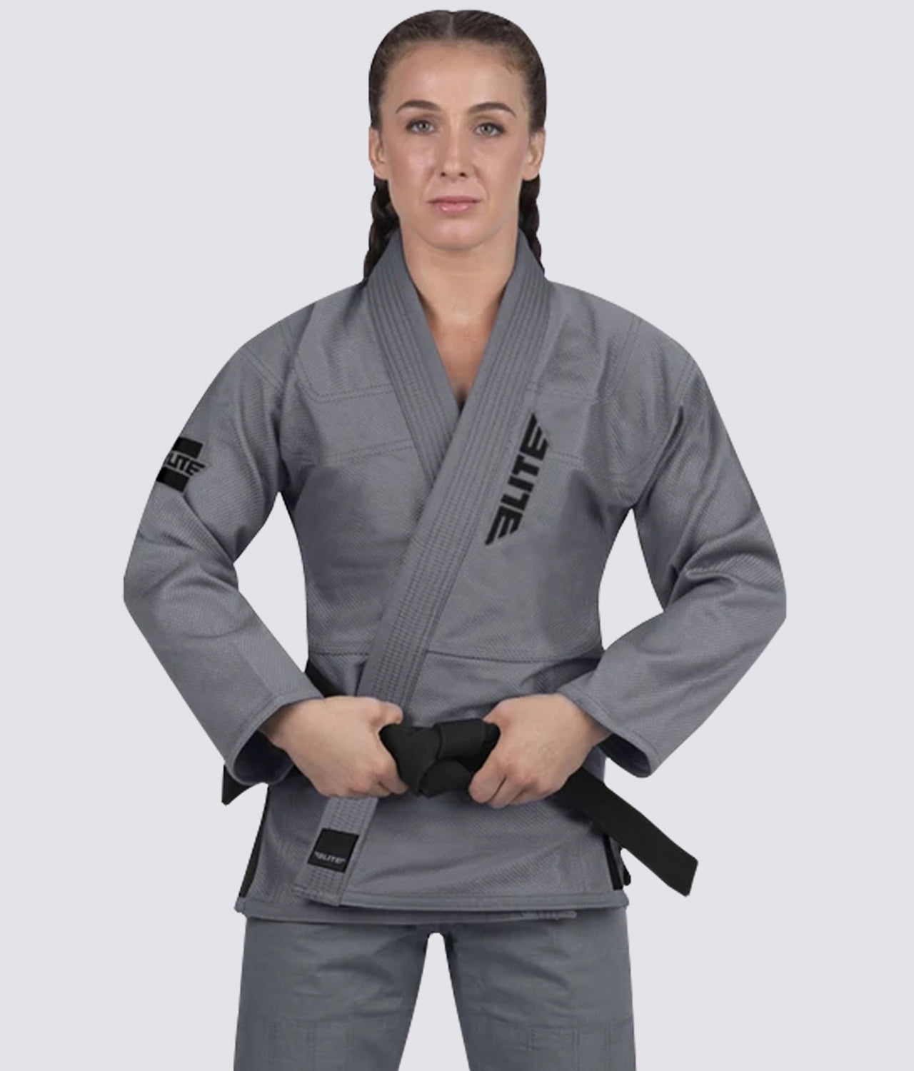 Elite Sports Lightweight Preshrunk Antibacterial Gray Women Brazilian Jiu Jitsu BJJ Gi With Free White Belt